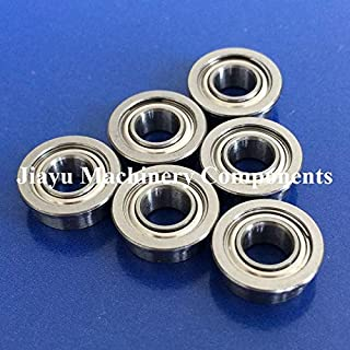Fevas 50 PCS SMF105ZZ Flanged Bearings 5x10x4 mm Stainless Steel Flange Ball Bearings DDLF-1050ZZ