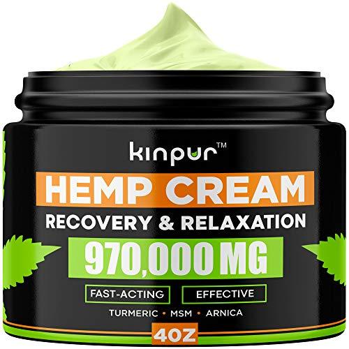 Natural Hemp Cream with MSM, Arnica, Emu Oil, Aloe Vera, Turmeric - Effective Discomfort Elimination for Joints, Hips, Back, Neck, Knees, Elbows, Fingers - Maximum Potency Hemp Oil Extract Gel, 4 oz