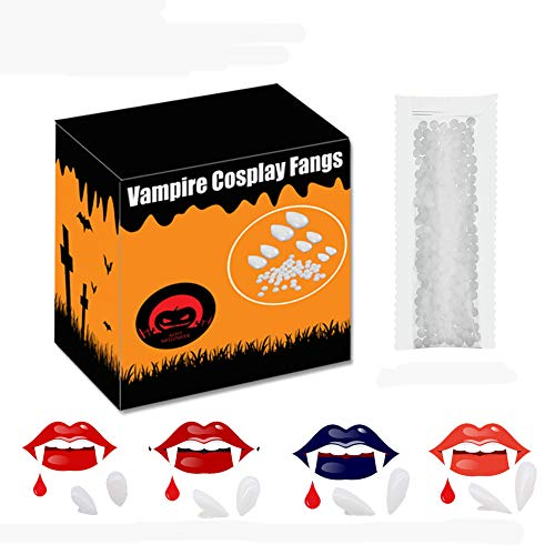 Vampire Teeth Fangs with Adhesive,4 Size Werewolf Sharp Fox Horror Pointy Teeth Glue Set,for Kids Adults Dentures Halloween Party Cosplay Props Fangs Decoration
