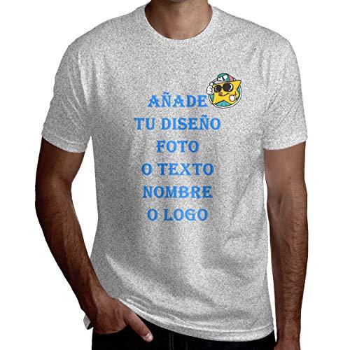 Camiseta Personalizada con Foto para Hombre con Cuello Redondo Manga Corta con Tus Diseños (Gris,XL)