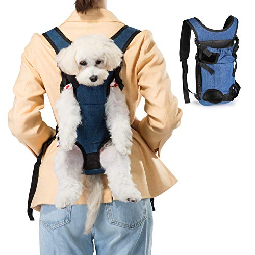 Ownpets Legs Out Front Dog Carrier, Hands-Free Adjustable Pet Carrying Backpack, Ideal for Small & Medium Cat, Dog Puppy Doggie