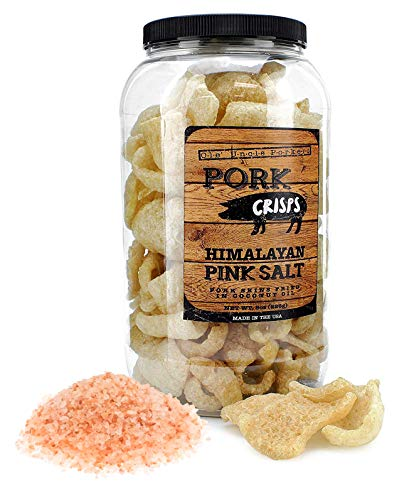 Keto Friendly Pork Rinds (Himalayan Pink Salt, 8-Ounce); Pork Crisps Fried in Coconut Oil
