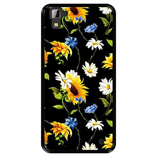 Hapdey Funda Negra para [ Hisense C30 Rock ] diseño [ Patrón Floral, Flores Multicolores 2 ] Carcasa Silicona Flexible TPU