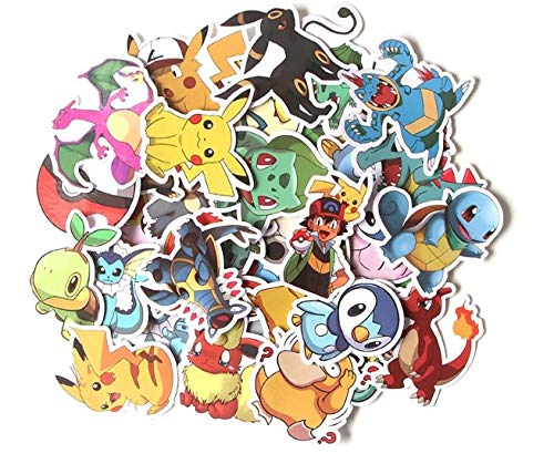 37 pcs Poke mon Graffiti Stickers Pack, Cartoon Vsco Stickers for Kids Teens Adults, Waterproof Decals Vinyls for Phone, Laptop, Cars, Motorcycle, Bicycle, Skateboard, Suitcase