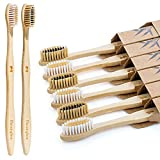 Bamboo Toothbrushes, Medium Soft Bristle, Wooden Toothbrushes, Biodegradable Eco-Friendly Natural Tooth Brush (Adult 6 Pack)