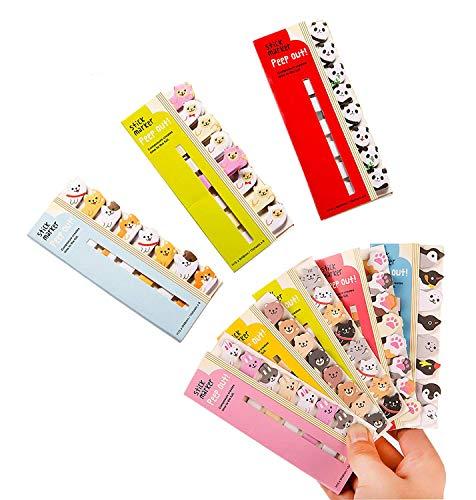 Niedliche Cartoon-Haftnotizen, verschiedene Weiß- und Pastelltöne, Kawaii-Tiere, Lesezeichen, Seitenmarker, Index-Tabs, 8er-Pack (960 Blatt)