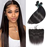 Great Grace Straight Hair Bundles with Frontal Free Part 3 Bundles Brazilian Hair with 13x4 Lace Frontal Ear to Ear Straight Virgin Hair Natural Color(20 22 24+18, 13X4 Lace Frontal)