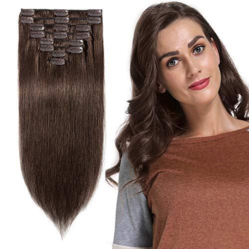 Clip in Extensions Echthaar günstig Haarverlängerung Remy Echthaar 8 Tressen 18 Clips Glatt 25cm-75g(#4 Schokobraun)