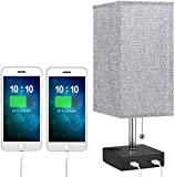 USB Bedside Table Lamps, Modern Table & Desk Lamp with 2 Useful USB Quick Charging Port, Nightstand Lamp with Grey Fabric Shade Perfect for Bedroom, Living Room, Study Room (1 Pack)