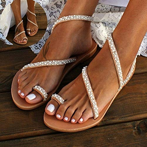 CTEJ Damen Sandalen Sommer Flach Sandaletten mit Strass Perlen Frauen Strand Boho Zehentrenner Frau Geschenk,Beige,38