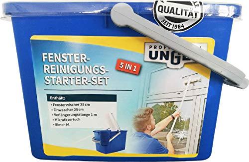 Unger 5-in-1 Reinigungs-Starter Set (für Fensterreinigung; mit Einwascher, Fensterwischer, Microfasertuch usw.) AK152