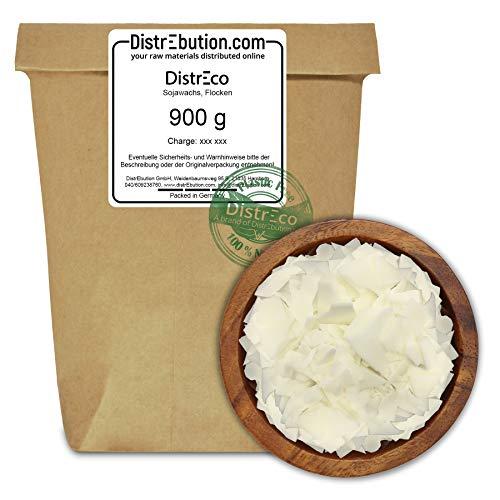 DistrEbution Sojawachs hochwertig und ökologisch nachhaltig (Plastikfrei) verpackt für handwerkliche Anwendungen und Kerzenherstellung (900 g)