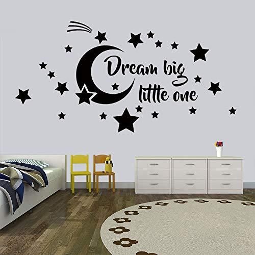 Ajcwhml Dream Big Little One Nursery Wall Decals Luna y Estrellas Nursery Decal Vinilo Estrella Luna Etiqueta de la Pared para Kid Room Decal 79x39cm
