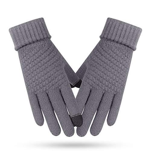 Mujeres otoño e invierno al aire libre calefacción guantes de dedo de los hombres nuevo color sólido pantalla táctil guantes de punto grueso