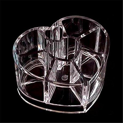 Boîte de rangement transparente en forme de cœur pour cosmétiques, fond de teint et pinceaux