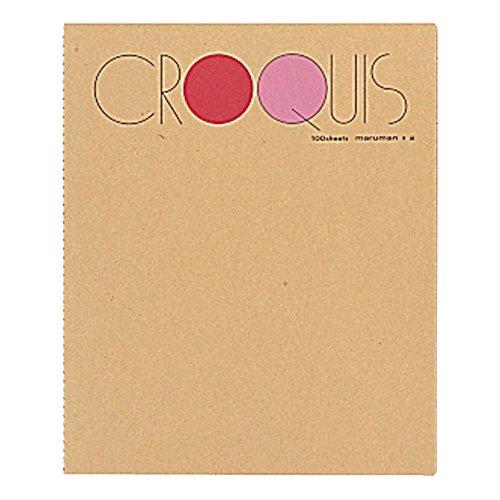 マルマン スケッチブック クロッキー帳 白クロッキー紙 レッド SM-01 Mサイズ(302×242mm)