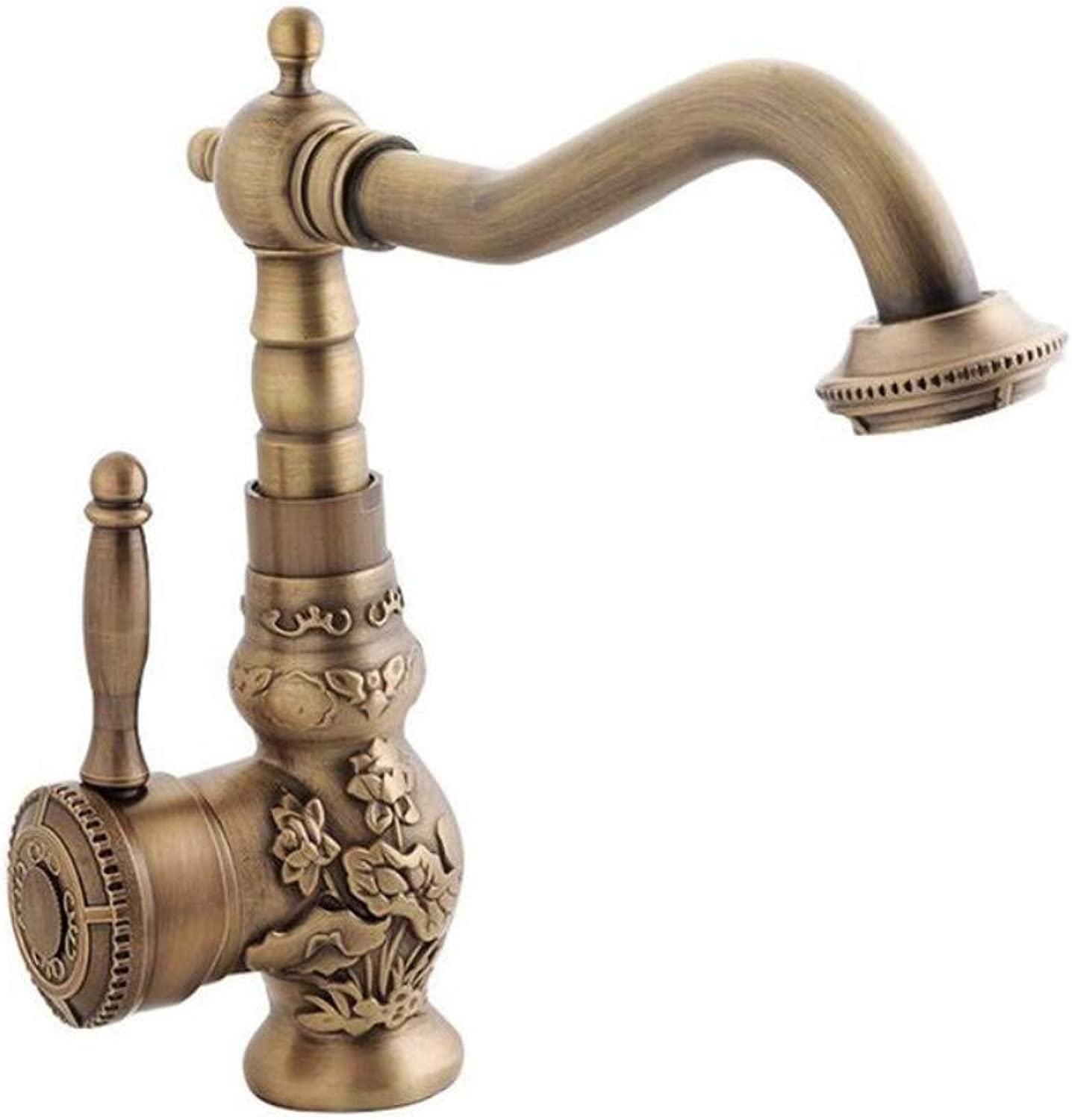 Brass Chrome Kitchen Bathroom Faucet Carving Tap Hot & Cold redate Single Handle Taps Water Mixer