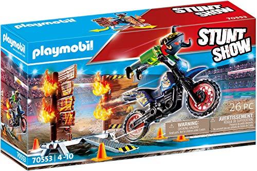 PLAYMOBIL Stuntshow 70553 Motorrad mit Feuerwand, Für Kinder von 4 - 10 Jahren