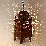 Casa Moro L1653 - Farol oriental de hierro Firyal de 150 cm de alto, para exterior e interior, artesanías de Marrakech | Farol de hierro marroquí de jardín | Farol de hierro | Farol de jardín
