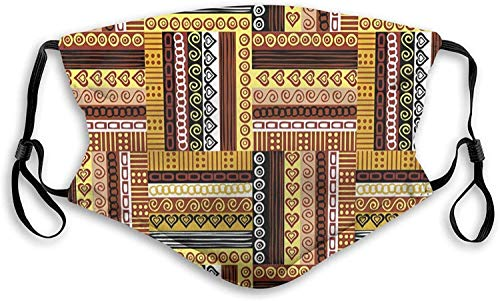 Windproof Activated Carbon mask Facial Decorations,Traditional African Oriental Motifs with Tribal Colors Nigerian Culture Elements,Face Mask Reusable Washable Masks Cloth S