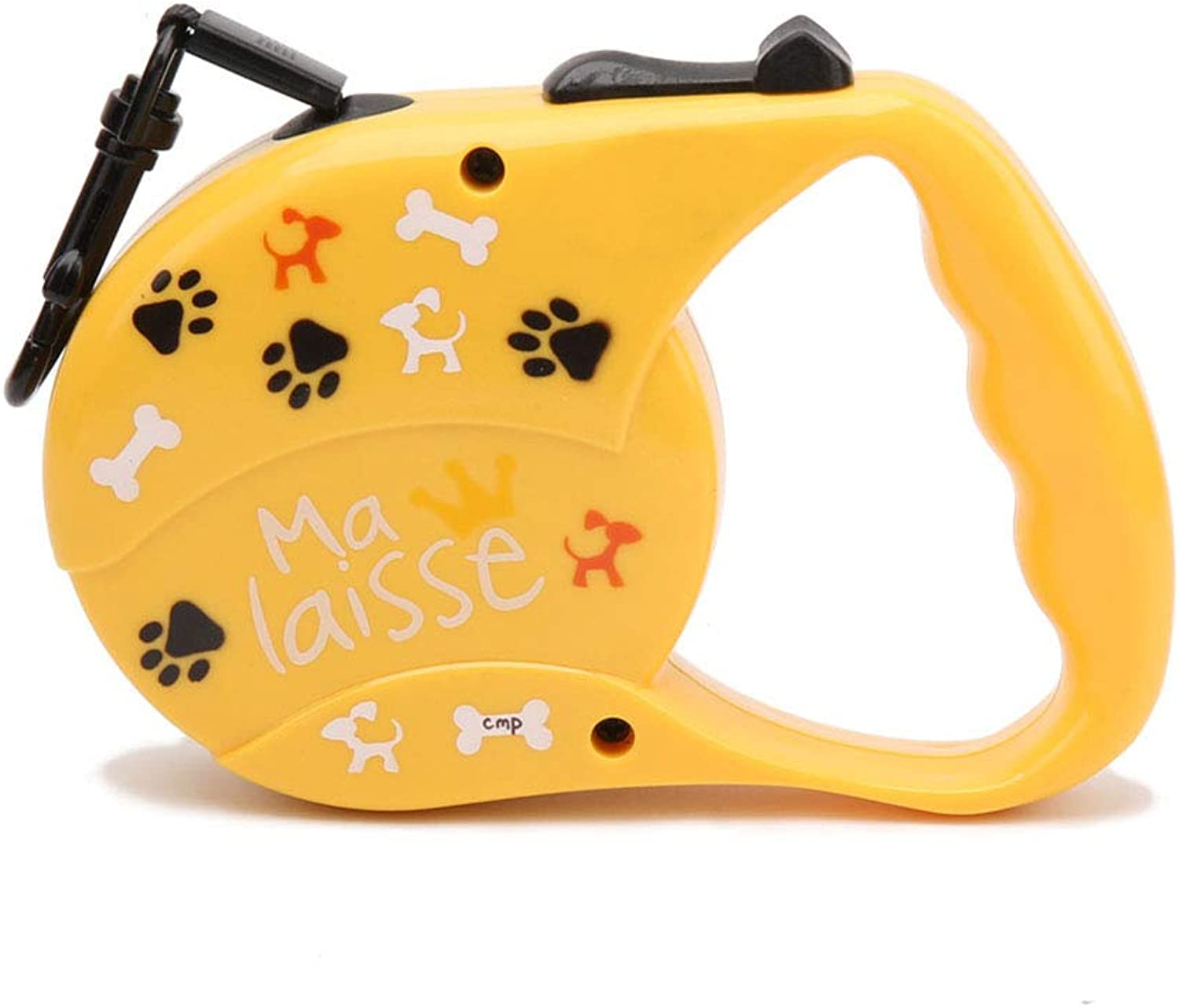 Pet Retractable Dog Leash for Small Medium One Button Break Lock Hands Free Strong Ribbon Yellow Pattern Traction Rope Training Walking Running 3M