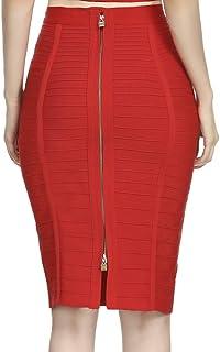 Women/'s Bandage Skirt Knee Length Cherry Red Elastic Waist Soft Fabric