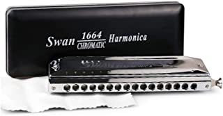 SWAN 10/12/16 Holes C Key Sliver Chromatic Harmonica Standard Chromatic Harmonica in Turning Round Blow Holes with Annex (16 Holes 64 Sound)