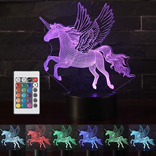 Vaupan Luz de noche de unicornio 3D para niños, lámpara de ilusión 3D, 16 colores cambiantes, luz nocturna con control remoto para sala de estar, bar, regalo juguetes para niños y niñas