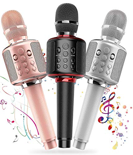 Three Karaoke Microphone Wireless Singing Machines with Bluetooth Speaker for Cell Phone/PC, Portable Handheld Mic Speaker Support Reverb/Duet