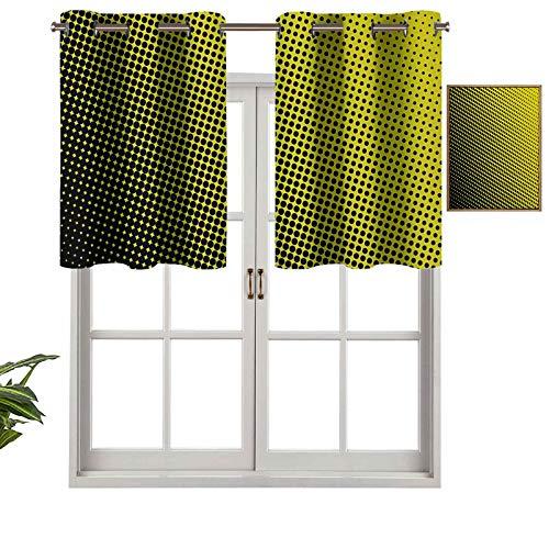 Hiiiman Cortinas opacas con aislamiento térmico para decoración del hogar, con ojales en fondo amarillo con lunares negros de grandes a pequeños, juego de 1, 106,7 x 45,7 cm para ventana del sótano