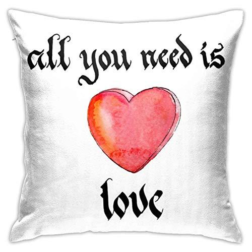 All You Need is Love - Fundas de almohada cuadradas con impresión de doble cara, 45,72 cm