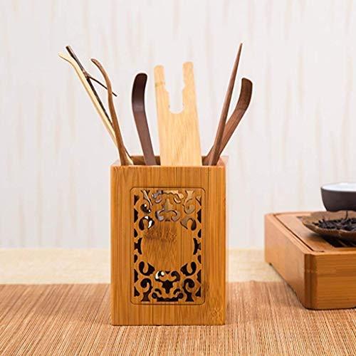 DWLXSH Reiner handgemachte Retro Holz Stifthalter-Höhle-Blumen-Muster-Entwurf erstellen saubere und ordentliche Office-Umgebung