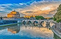 ローマイタリアポンテサンタンジェロ運河橋川都市大人のパズル子供1000ピース木製パズルゲームギフト家の装飾特別な旅行のお土産