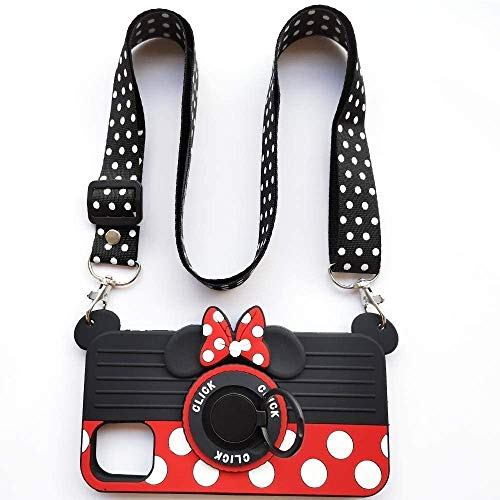 AIMONOCIN for iPhone 11 Case with Lanyard Ring 3D Cute Soft Silicone Cartoon Minnie Mouse Camera Design Phone Case Best Gift for Women/Girls/Kids (11 6.1in) (6/7/8PLUS) (11 pro MAX)