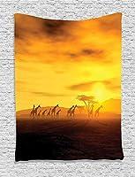 日没時のサファリタペストリーキリン劇的な雲空と地球野生動物の壁が寝室のリビングルームの寮の装飾にぶら下がっている60X 40