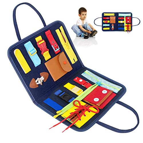 YSAGi Toddler Busy Board, Montessori Toy for Develop Basic Skills, 14 in 1 Learn to Dress Toy for Kids, Parent-Kids Activity Toy, Bag Design for Airplane or Car Travel