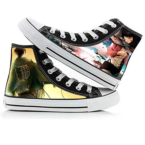 JPTYJ Attack On Titan Eren Jaeger Zapatos Altos Unisex Zapatos Casuales de Anime Zapatos de Lona para Estudiantes Zapatillas de Deporte de la Escuela Secundaria C-43