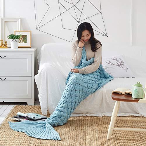 Zeemeerminstaart-deken, gehaakt, voor alle seizoenen, warme sprei, sofadeken, cadeau voor meisjes voor verjaardagen, Kerstmis 60*140CM Lichtblauw