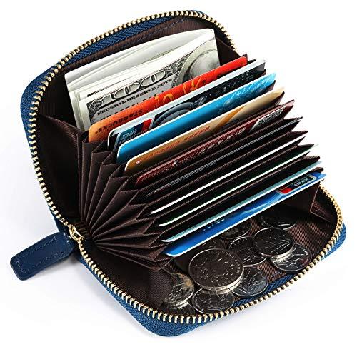 Kattee.Tarjetero para Tarjetas de Crédito de Cuero Genuino con Protección RFID, Monedero Vintage para Billetes