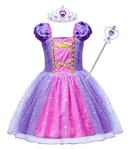AmzBarley Niñas Princesa Vestirse Vestidos Fiesta Disfraces niños Vestir Fiesta Halloween Cumpleaños Noche Púrpura G74 3-4 años
