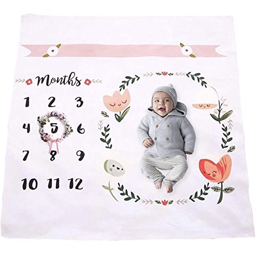 Baby Monthly Milestone Blanket | Throw for Infant & Babies 0-3 Months, 3