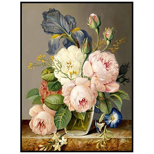 Belleza Colorida Arreglo de Flores Hojas Verdes Carteles Minimalismo Pintura Impresión Imagen de Pared para Sala de Estar Decoración del hogar 7.8x11.8in (20x30cm) x1psc SIN Marco