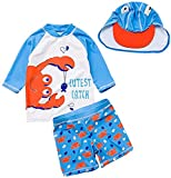 Baby Toddler Boys Two Pieces Swimsuit Set Boys Bathing Suit Rash Guards with Hat UPF 50+ FBA (Crab-c, 18-24 Months)
