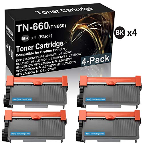 4-Pack (Black) Compatible HL-L2360DW HL-L2380DW MFC-L2680W MFC-L2685DW MFC-L2700DW MFC-L2705DW Printer Toner Cartridge Replacement for Brother TN660 TN-660 High Yield (2,600 Pages) Toner Cartridge -  Kolasels, USA-BXI-718