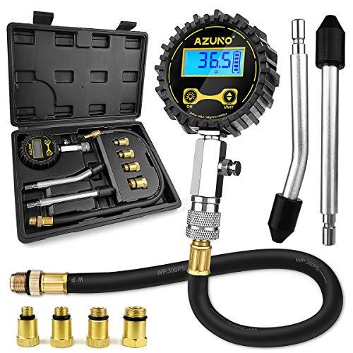 AZUNO Compression Tester Automotive, Digital Compression Gauge 200 PSI for Petrol Engine Cylinder Compression Tester Kit with Adapter & Hose