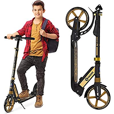 Scooter for Kids Ages 6-12 - Scooters for Teens 12 Years and Up - Adult Scooter with Anti-Shock Suspension - Scooter for Kids 8 Years and Up with 4 Adjustment Levels Handlebar Up to 41 Inches High from SKIDEE