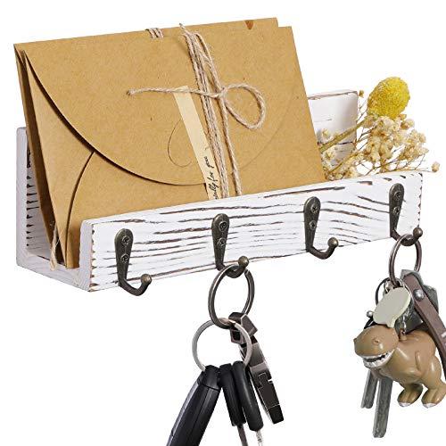 OROPY Estante de madera para llaves y portacartas, organizador de correo montado en la...