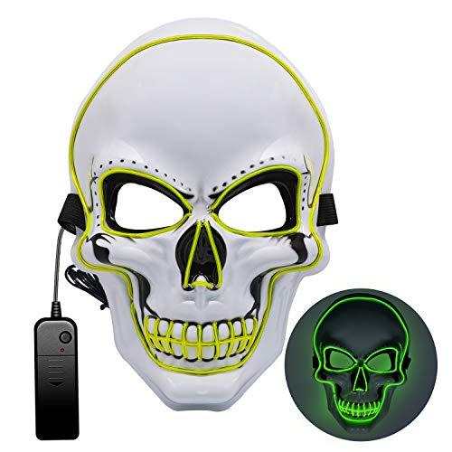Halloween Maske, Halloween Maske LED 3 Beleuchtungsmodi,Halloween Gruselige Maske, Gruselmaske für Kinder Männer Frauen Erwachsene Kostümspiele auf Cosplays Feste und Partys(LED-MASK003)