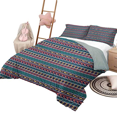Daybed Quilt Set Striped Custom Bedding Machine Washable Native American Aztec Style Pattern with Geometric Trippy Forms Art Print Queen Size Multi