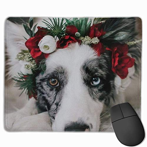 Athg rectangle mouse pad non-slip rubber 3d pringted dog with garland for women men working